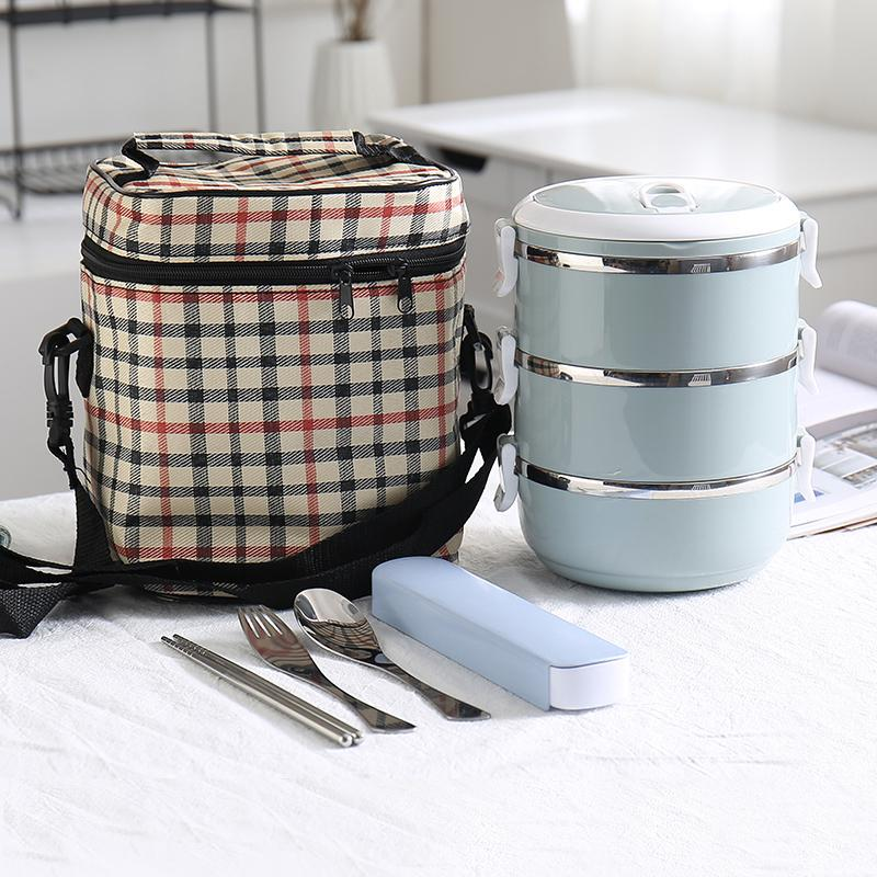 304 Stainless Steel Food Container Thermos Kid Adult Lunchbox Plastic School Bento Lunch Boxes Kitchen Accessories Japan Style Y19070303