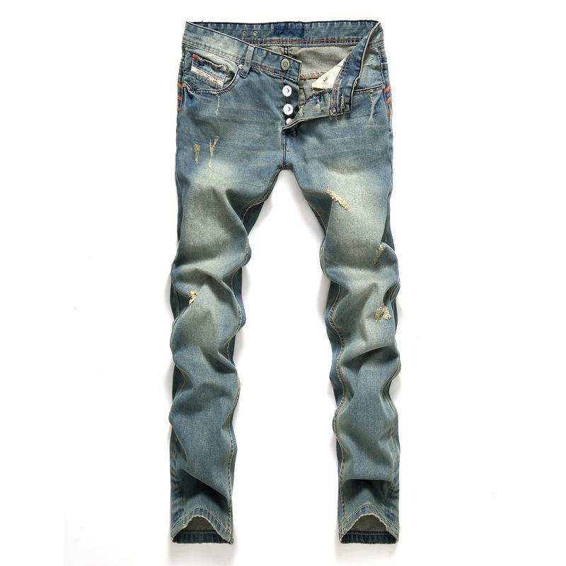 AIRGRACIAS Jeans Jeans para hombre Classic Color Azul algodón rasgado agujero de los pantalones vaqueros para los hombres marca de diseño del motorista Jean pantalones largos CX200701