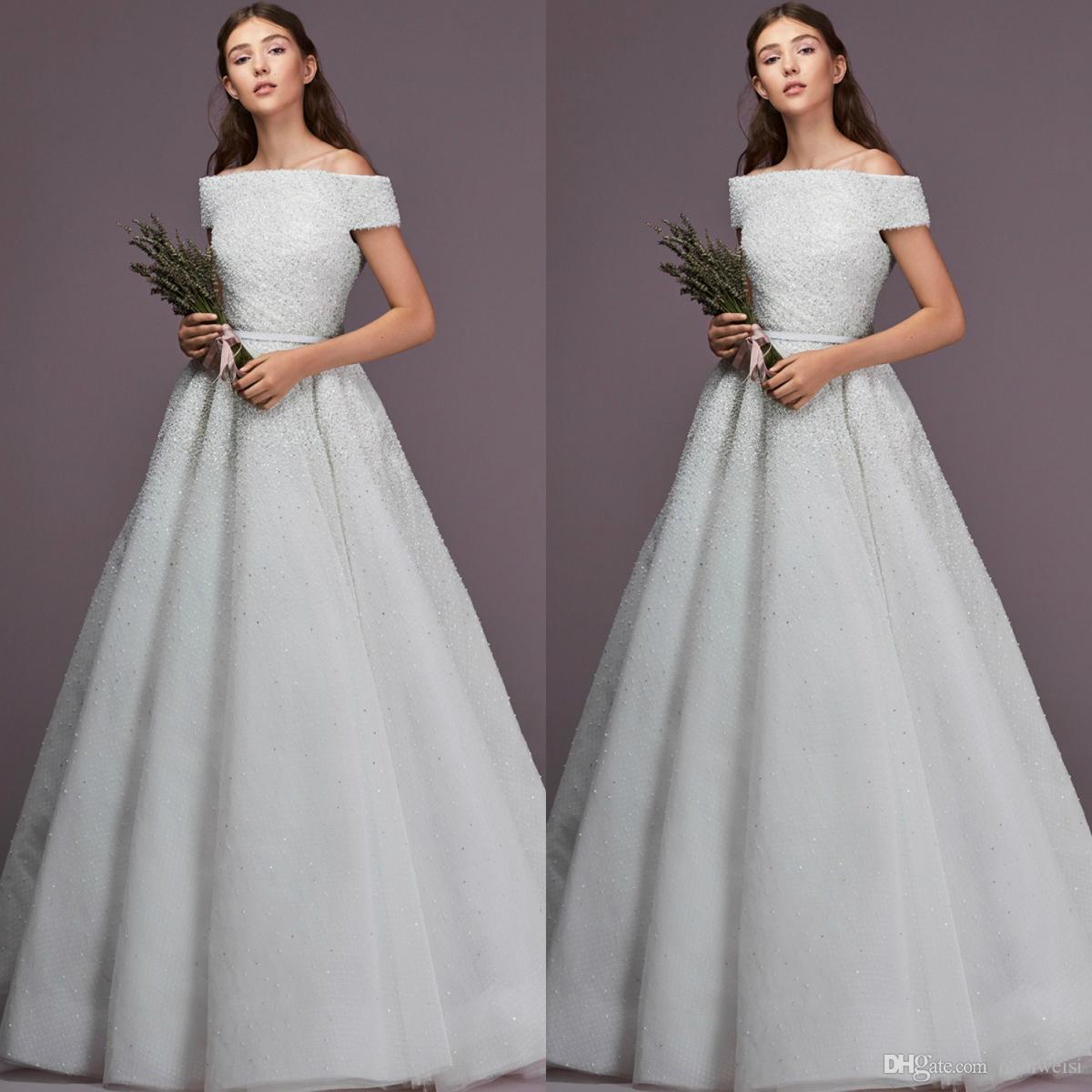 Elie Saab 2019 Beading Wedding Dresses Off The Shoulder Plus Size Robe De Mariée Wedding Dress Bridal Gowns Custom Made