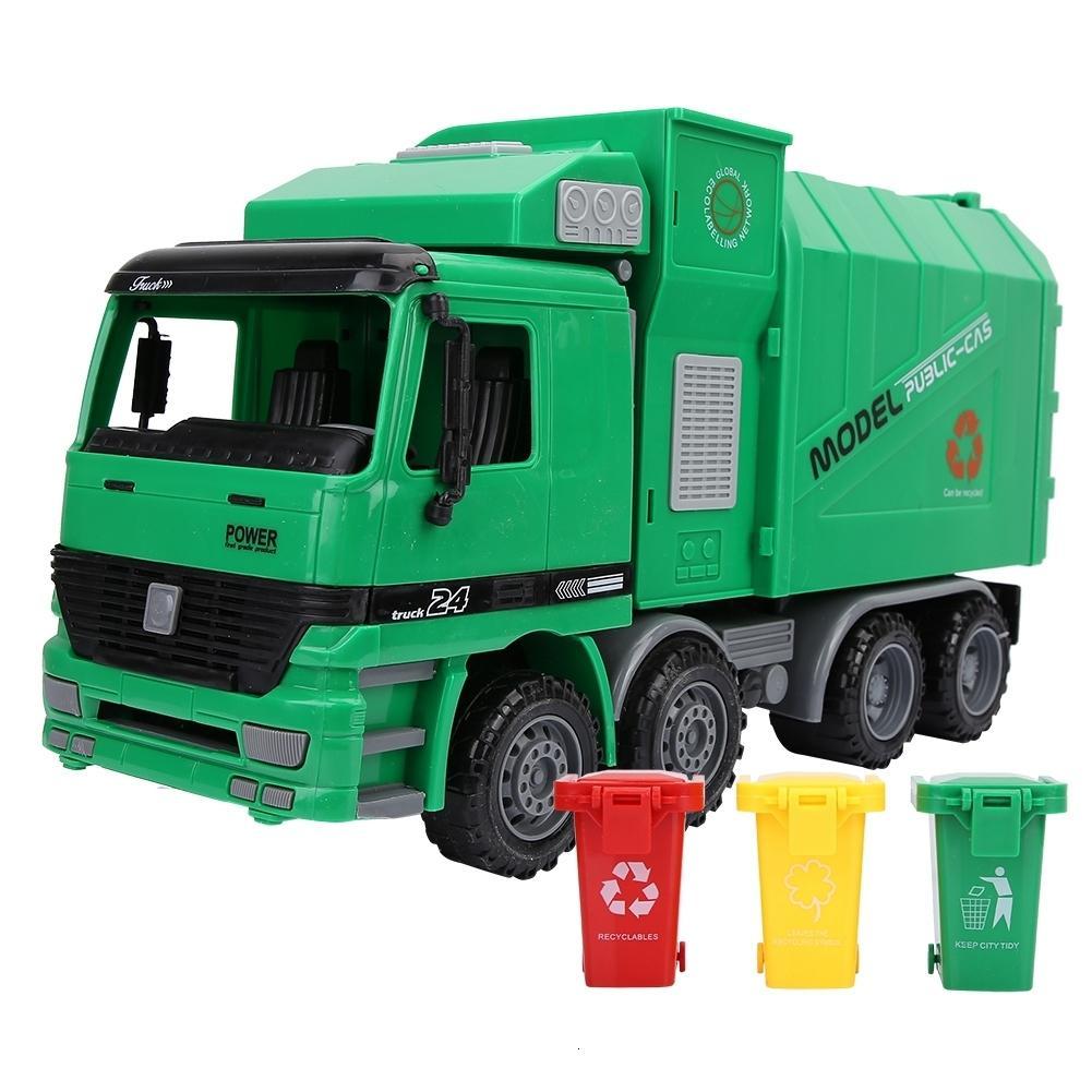 أطفال محاكاة الجمود القمامة شاحنة الصرف الصحي نموذج سيارة اللعب مع ثلاثة القمامة SH190910