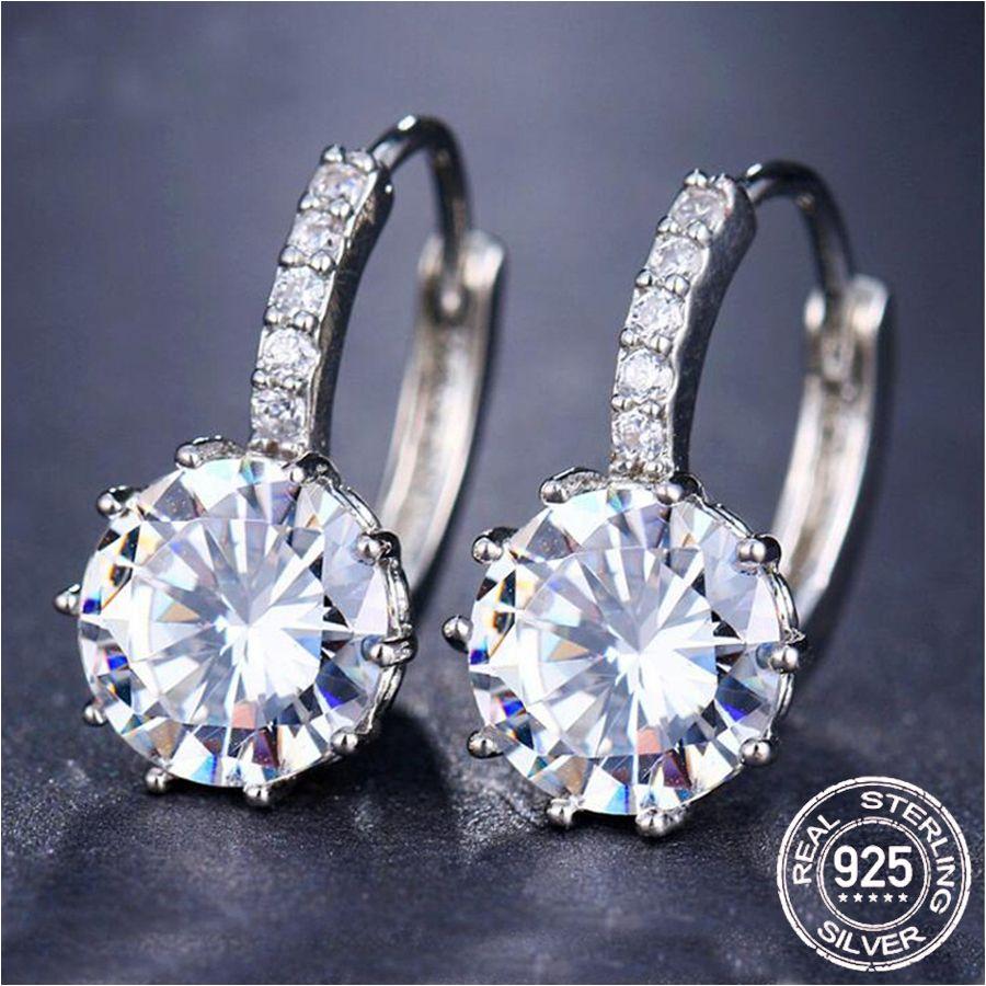 Original 100% 925 Sterling Fashion Luxury Round Shining 2.0ct Lab Diamond Zircon Drop Crystal Zircon Big Earrings Trendy Accessories E269