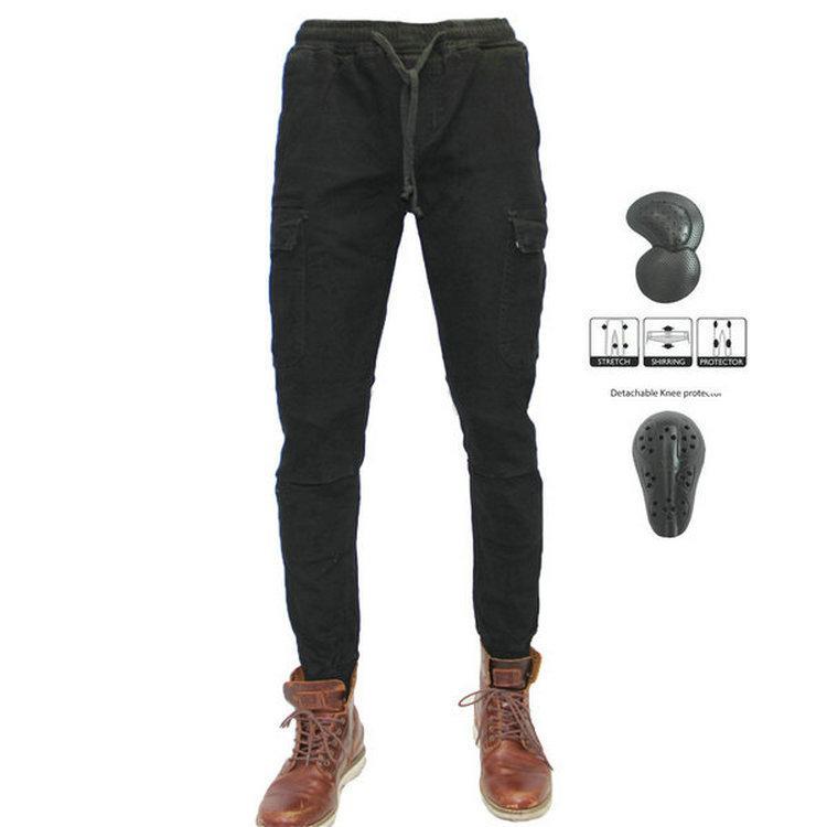 loong la motocicleta de alta calidad mono de los pantalones de protección ciclismo de ocio negro pantalones de moto de los hombres de los pantalones vaqueros diaria ocasional de las bragas negro