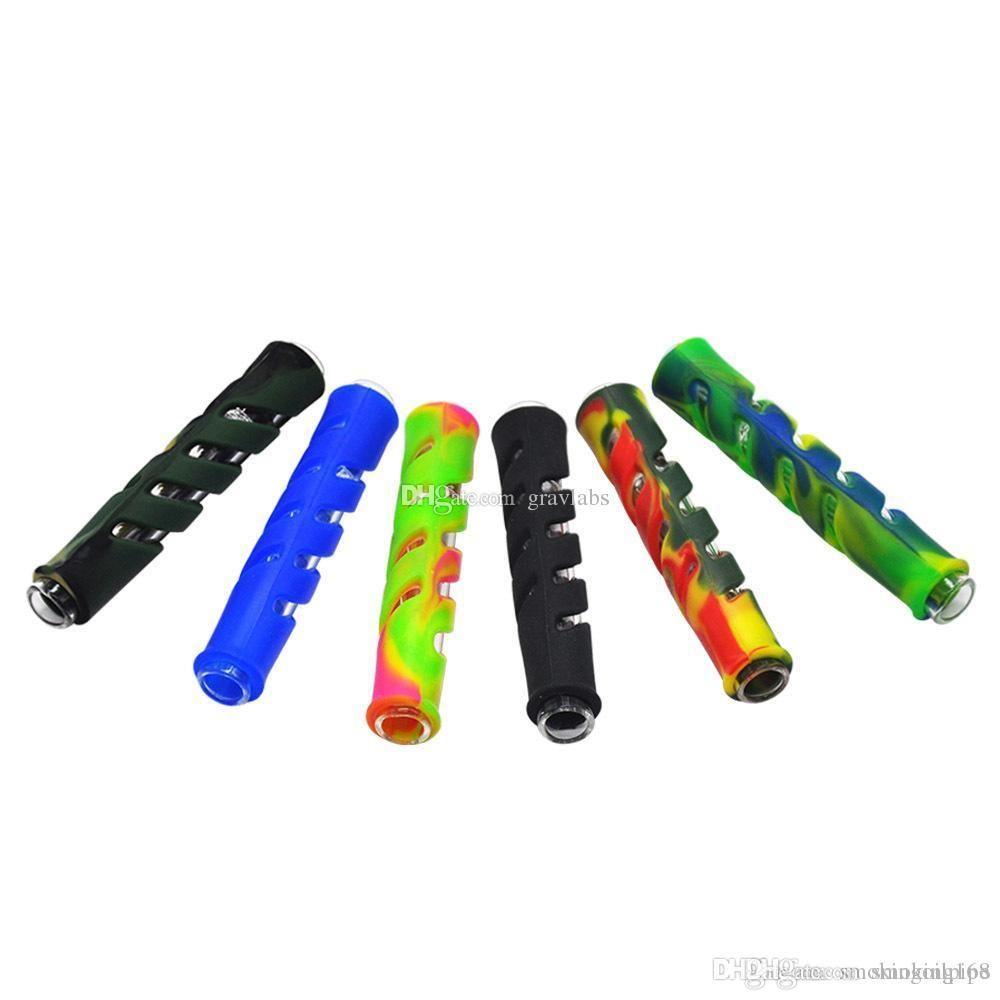 Irrésistible coloré 90mm mini-verre épais de Pyrex Straw Tube Pipes de filtre de cigarette pipe VS og pas cher