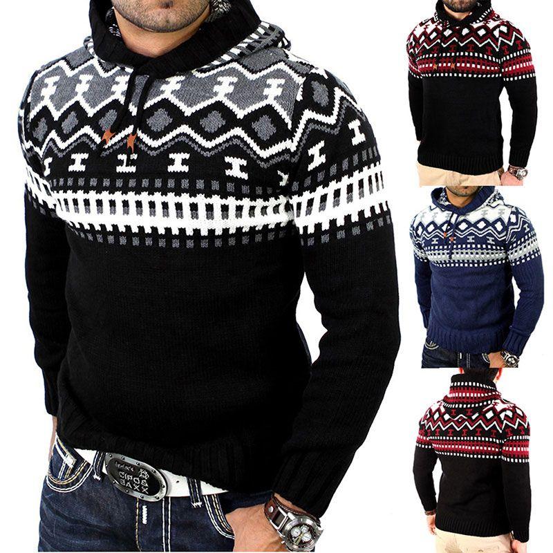 Venta caliente de los nuevos hombres otoño invierno con capucha de punto suéter chaquetas Outwear manga larga suéteres abrigo