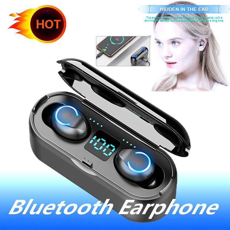New MINI TWS Bluetooth Headset Redução de Ruído Earphones IPX7 impermeável Wireless Headset com banco de potência de carga Caixa de fone de ouvido