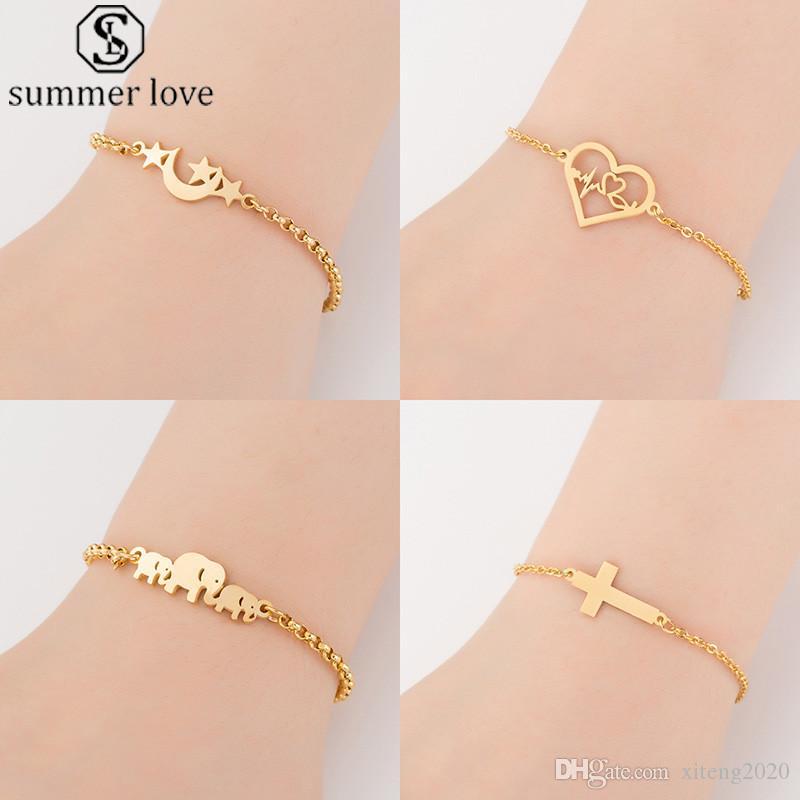 2020 nuevo animal brazaletes de oro cadena de la joyería de la mariposa de la Cruz Elephent pulsera del encanto del corazón para el regalo-Z de Mujeres de San Valentín