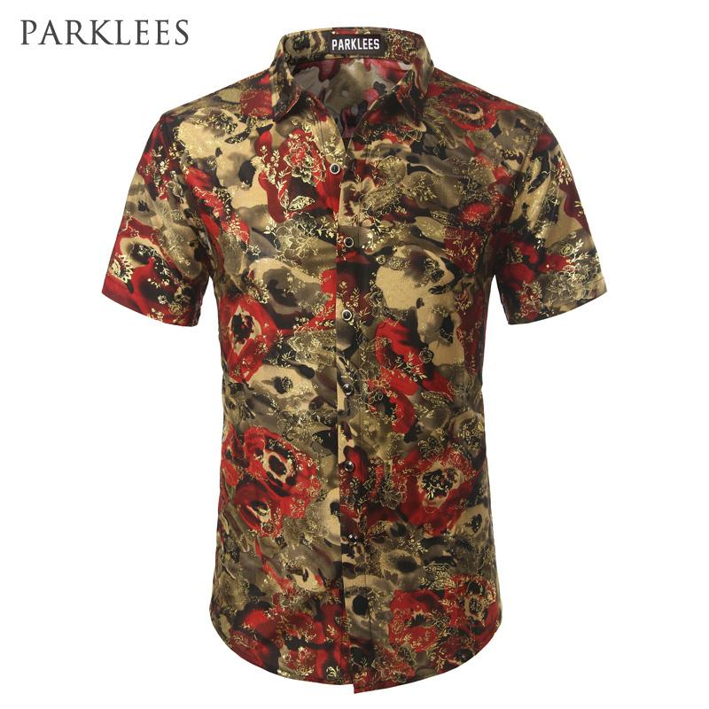 Gold Velvet Floral Printed Men Shirts 2017 Brand New Silk Shirt Men Short Sleeve Slim Fit Chemise Homme Mens Dress Shirts Camisa