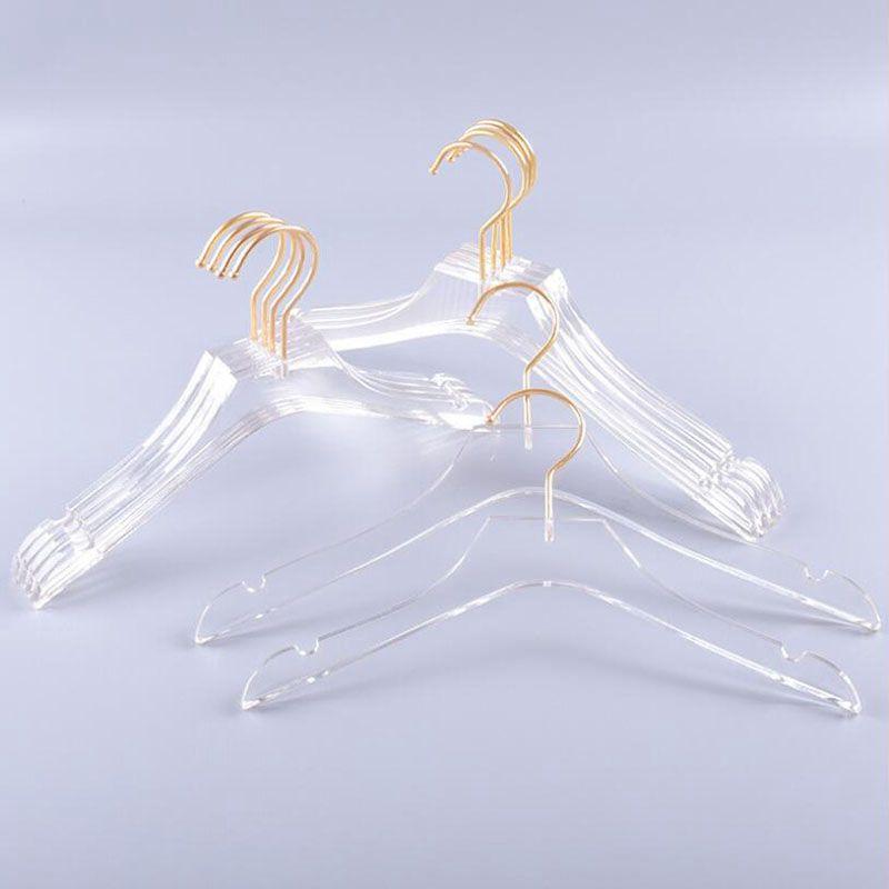 الشماعات ملابس فاخرة الشماعات اللباس الاكريليك مع حاملي القمصان الشفافة الذهب هوك مع الشقوق للأطفال سيدة