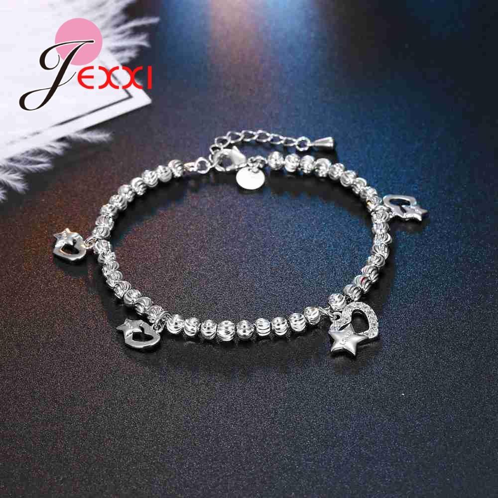 JEXXI Moda Coração Com Estrelas Projeto Encantos Pulseiras Pavimentadas Cubic Zironia Mulheres Casamento 925 Pulseira De Prata Esterlina