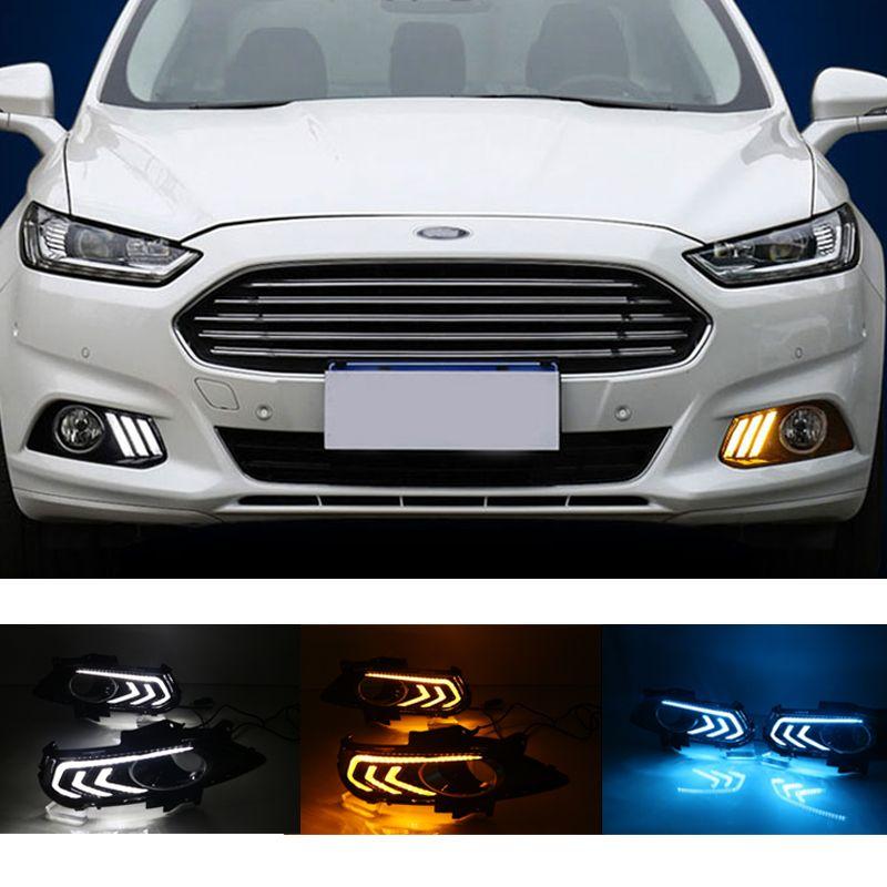 Coche que destellan LED DRL luz corriente diurna para Ford Mondeo Fusión 2013 2014 2015 2016 Car Styling impermeable con lámpara de la niebla agujero