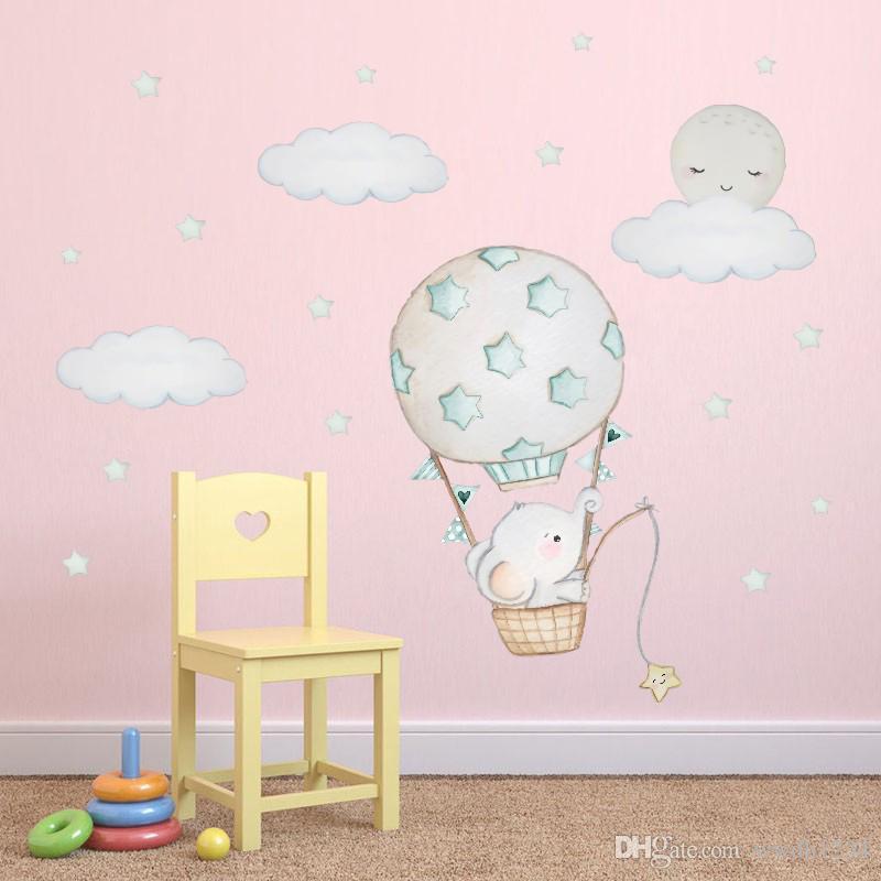 수채화 비행기 열기구 벽 스티커 아이 아기 방 홈 장식 만화 데칼 보육 스티커 벽지