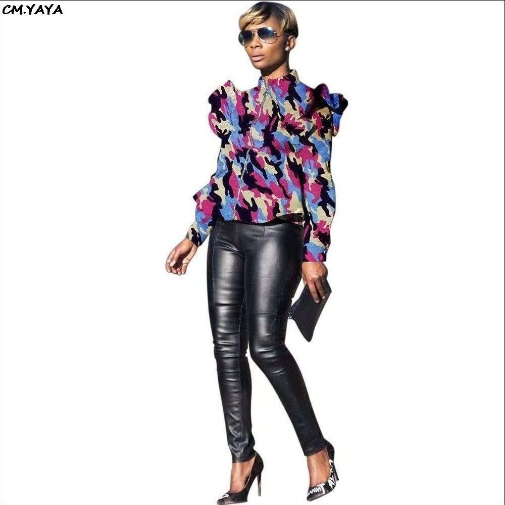 2019 novas mulheres camuflagem impressão plissados ombro zip up ficar pescoço manga longa casacos de moda 6 cor casaco S-3XL Plus Size Q5071