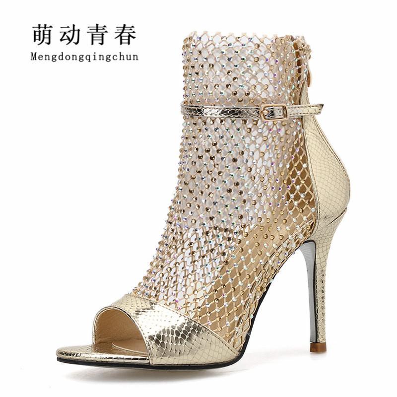 Más el tamaño 35-42 los zapatos de tacón alto de las mujeres atractivas ahuecan hacia fuera punta abierta de diamantes de imitación Bombas Mujer del banquete de boda de la correa del tobillo Bombas Zapatos