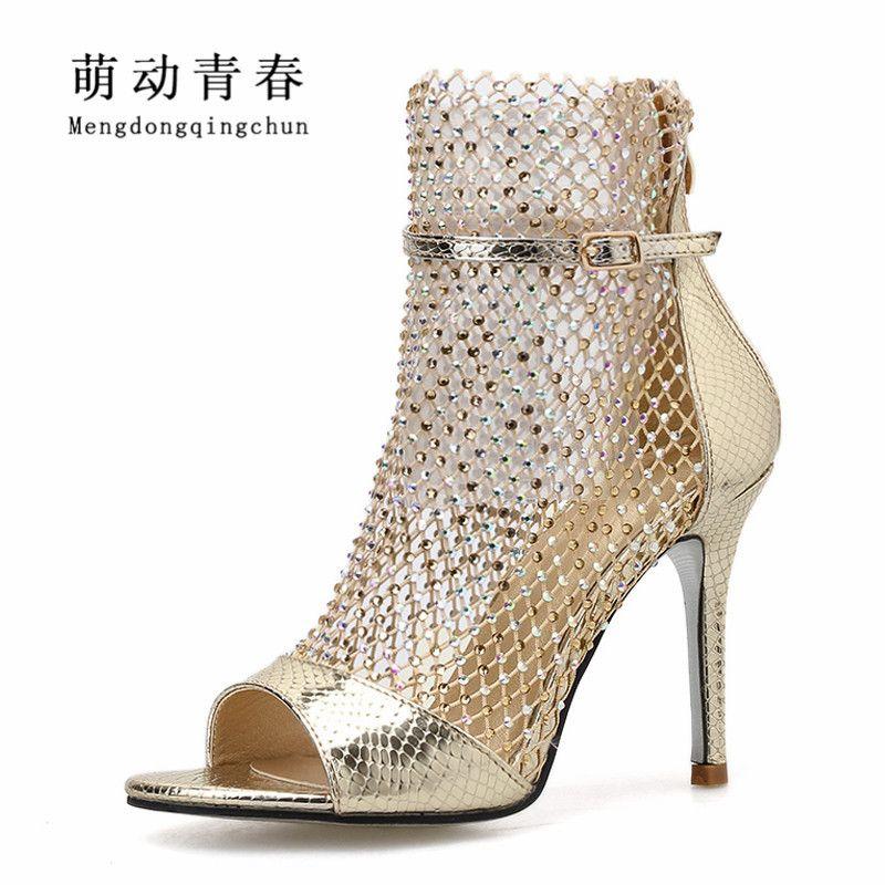 Плюс Размер 35-42 Женщины Туфли На Высоком Каблуке Сексуальная Выдалбливают Открытый Носок Стразы Насосы Mujer Лодыжки Ремень Свадебная Вечеринка Насосы Zapatos