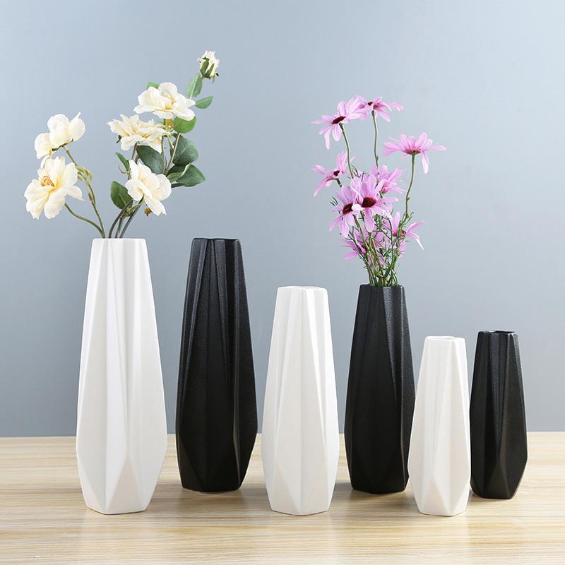 18/23/27.8cm Height Simple Modern Style European Ceramic Art Vase Living Room Dining Desktop Flowerpot Home Decorative Vases T200703