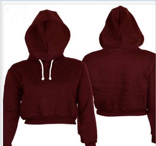 Mode-volle Hoodie-Mäntel Black Herbst Neue Kürze Beiläufige Kleidung Frauen Damen Kleidung Tops Plain Crop Top Mit Kapuze