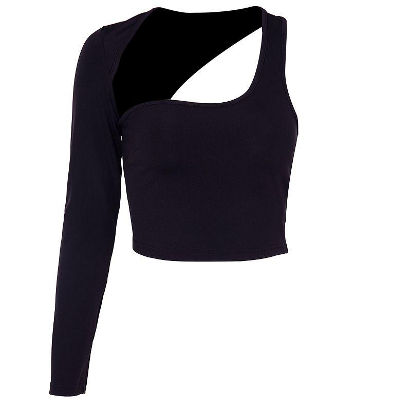 Crop maniche lunghe Donne Top signore casuali camicia Plain Camicetta una spalla Nero