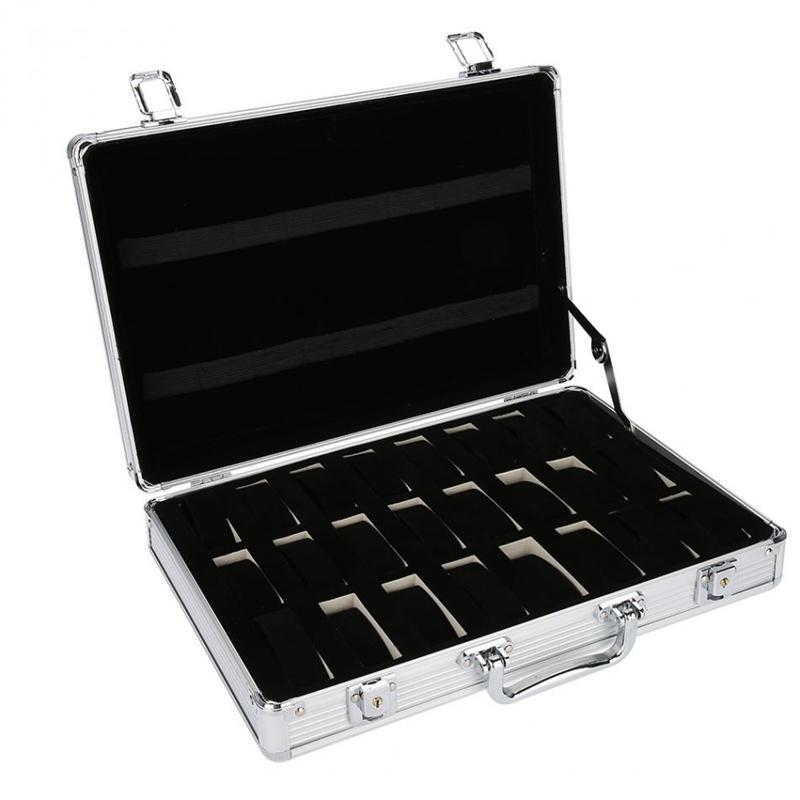 24 Rejilla de aluminio del caso de la maleta de visualización de almacenamiento caja de reloj caja de almacenamiento caja de reloj soporte de reloj