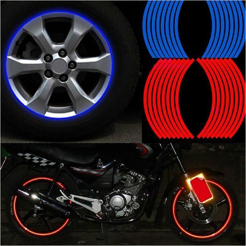 Novo! 16 Pcs Tiras roda etiquetas e de decalques 14 17 18 Reflective Rim Tape bicicleta motocicleta Car Tape 5 cores Car Styling