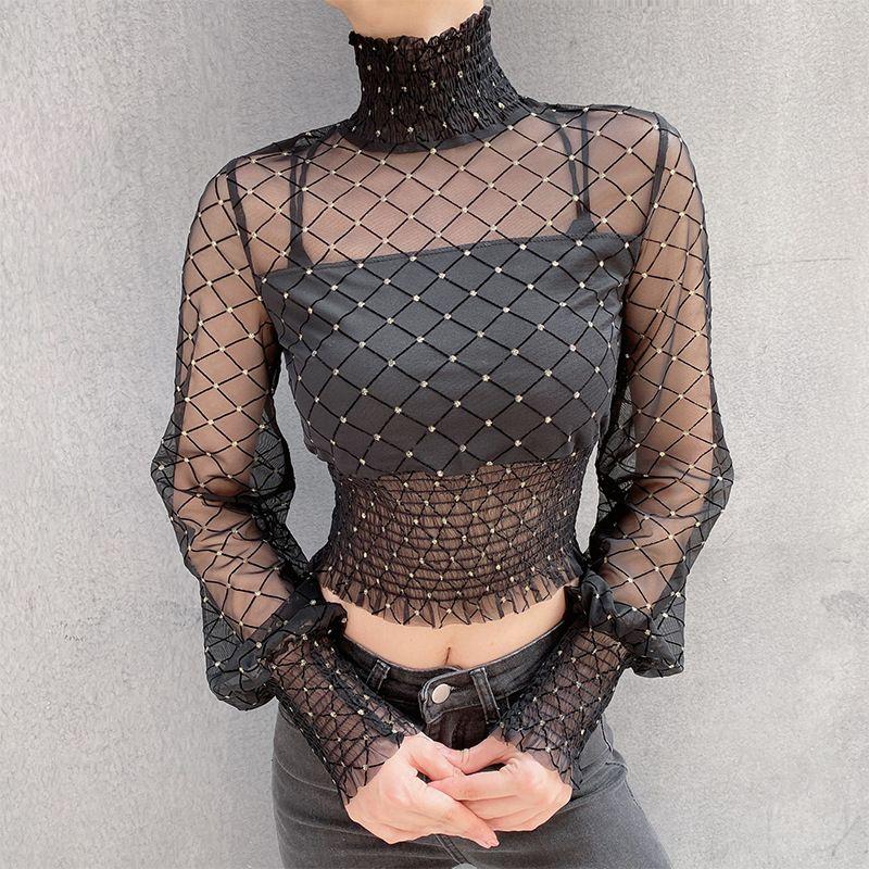 Moda Donna Nuova Europa pizzo maglietta della rete della maglia filati ad alta colloar maniche lunghe Slim Crop Tops maglietta C5127