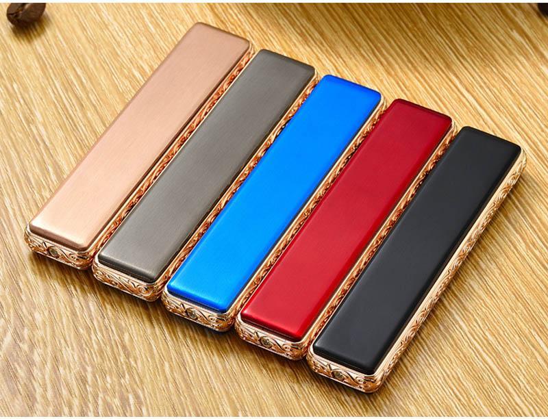 Creativo di ricarica USB del sensore touch screen di ricarica USB Accendino antivento creativo tungsteno accenditore elettronico di regalo del supporto filtro di sigaretta