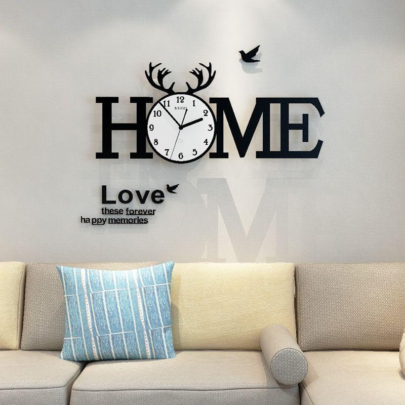 2019 MEISD Deer Antlers Alphabet HOME Gran pared Colck Diseño moderno con pegatinas de pared 12 marcos de fotos Sala de estar Decoración del hogar