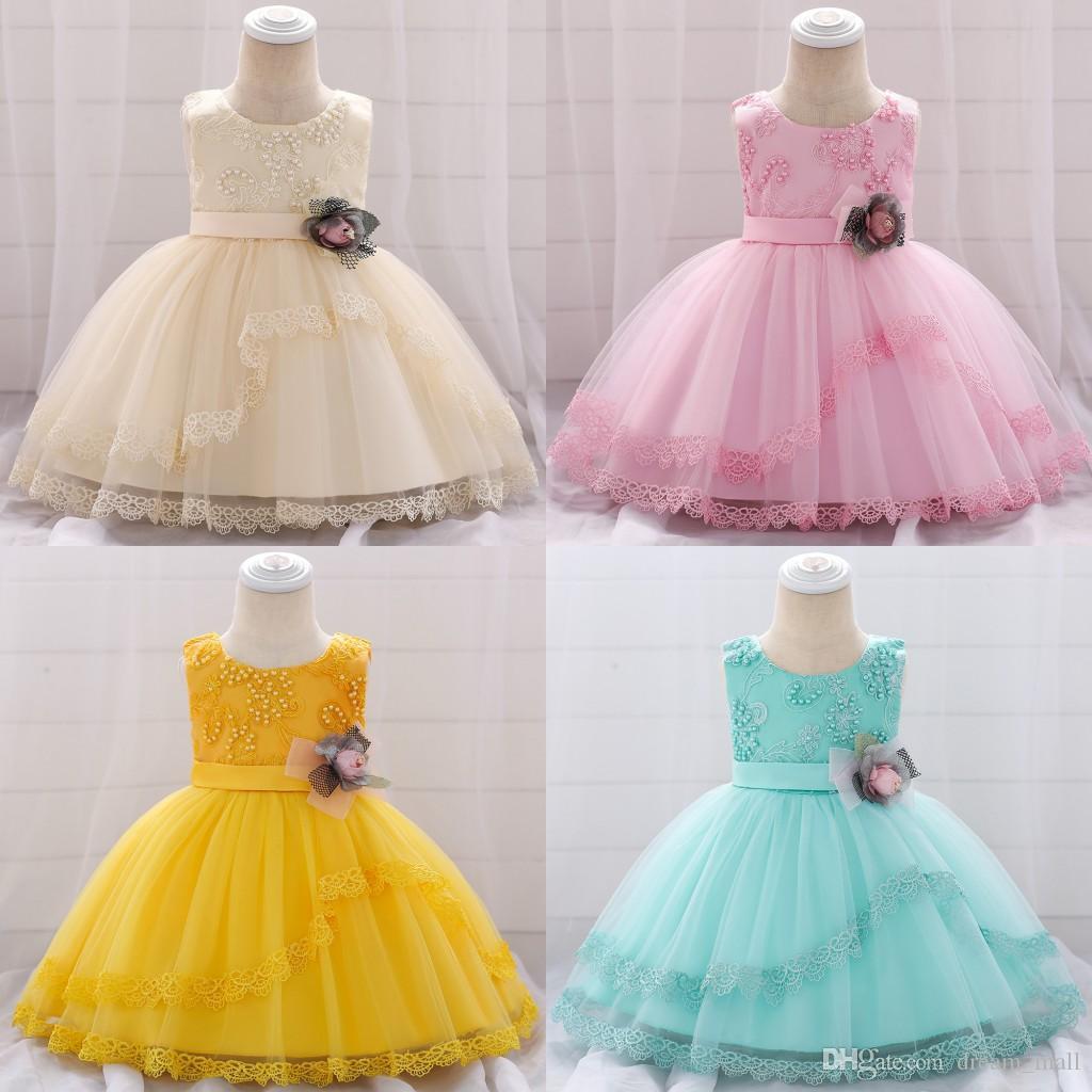 Lace Flower Girls Dress Tutu Newborn Wedding Birthday Baptism Party Gown Baby Kids Clothes