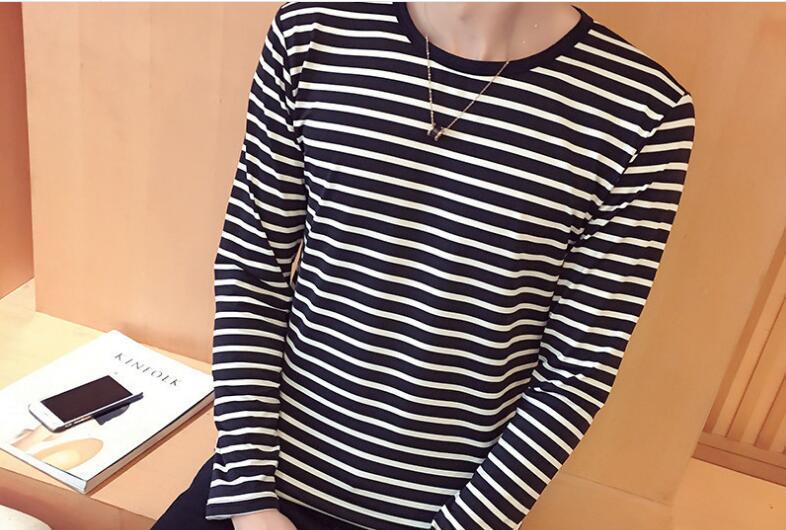Hemd Black Long Hip 2019 Streifen Casual T-Shirt Harajuku Sleeve Herbst Tshirt Hop T Streetwear Casual Tops Männer T Shirts Weiß HJFHX