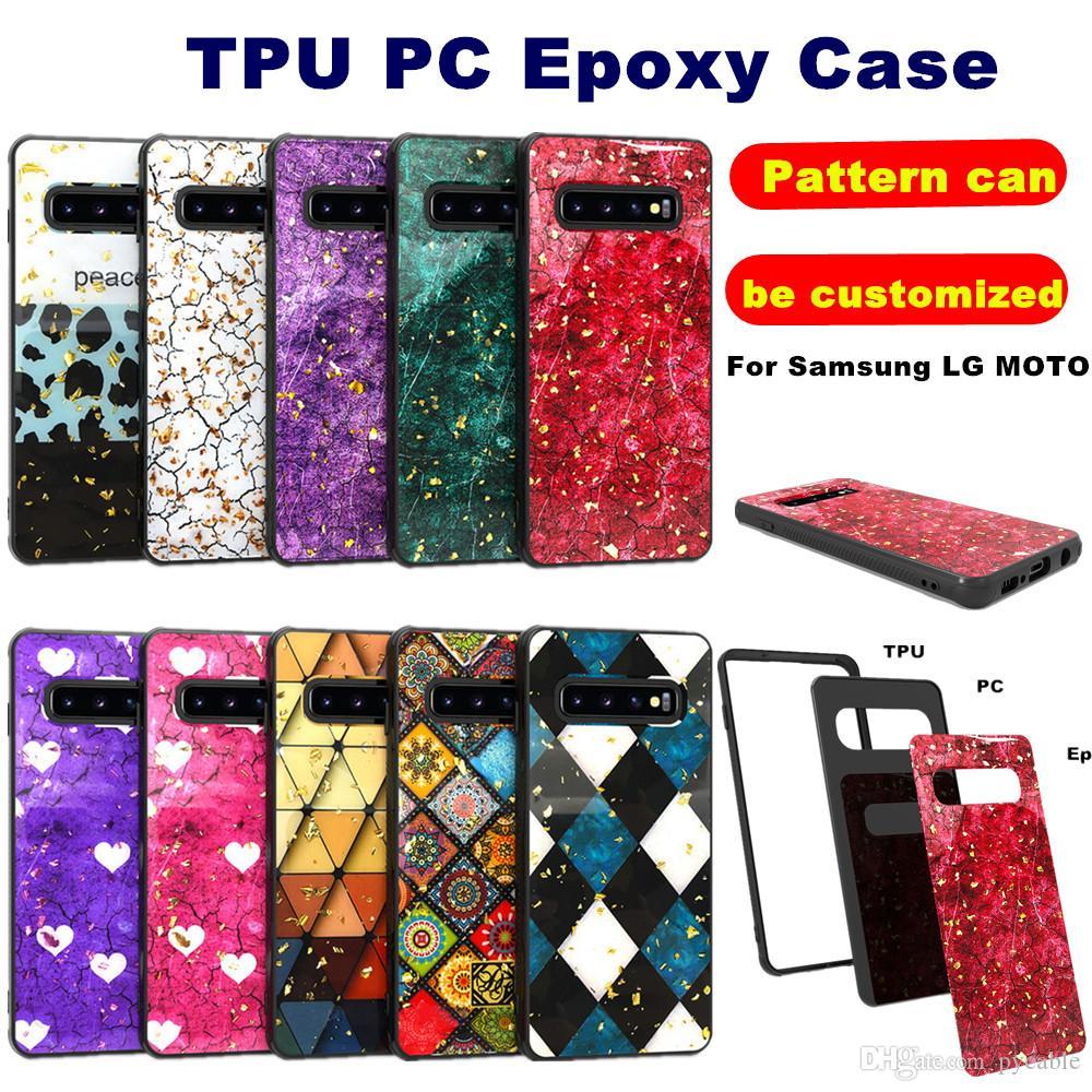 Casos de teléfono epoxi para iPhone 12 Mini 11 Pro Max XS XR 7 8 SE Samsung Galaxy S21 Ultra Plus Note 10 J2 Core A10E Moto G7 Play LG Stylo 5 K40 V50 Cubierta de armadura híbrida