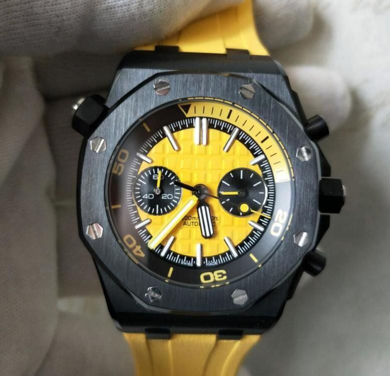 3 farbe hochwertige klassische serie top qualität luxus armbanduhren 42mm quarz chronograph edelstahl mens uhr uhren gummi