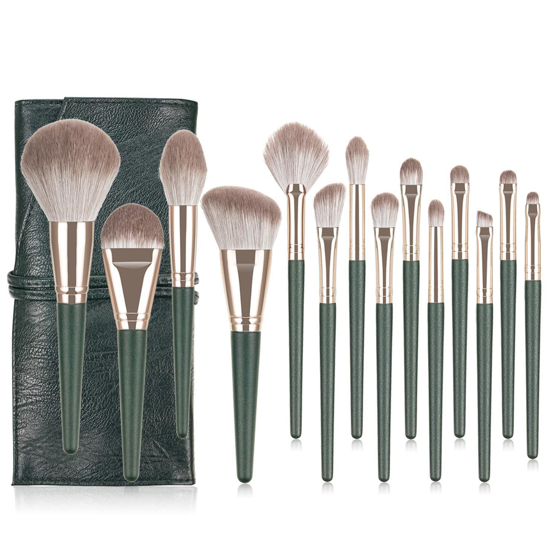 Yeni Makyaj Fırçaları 14 ADET Profesyonel BRSUH Çanta Size Size Size Size Sentetik Saç Bronzlaştırıcı Toz Allık Fosforlu Foundation Makyaj Fırça Seti.