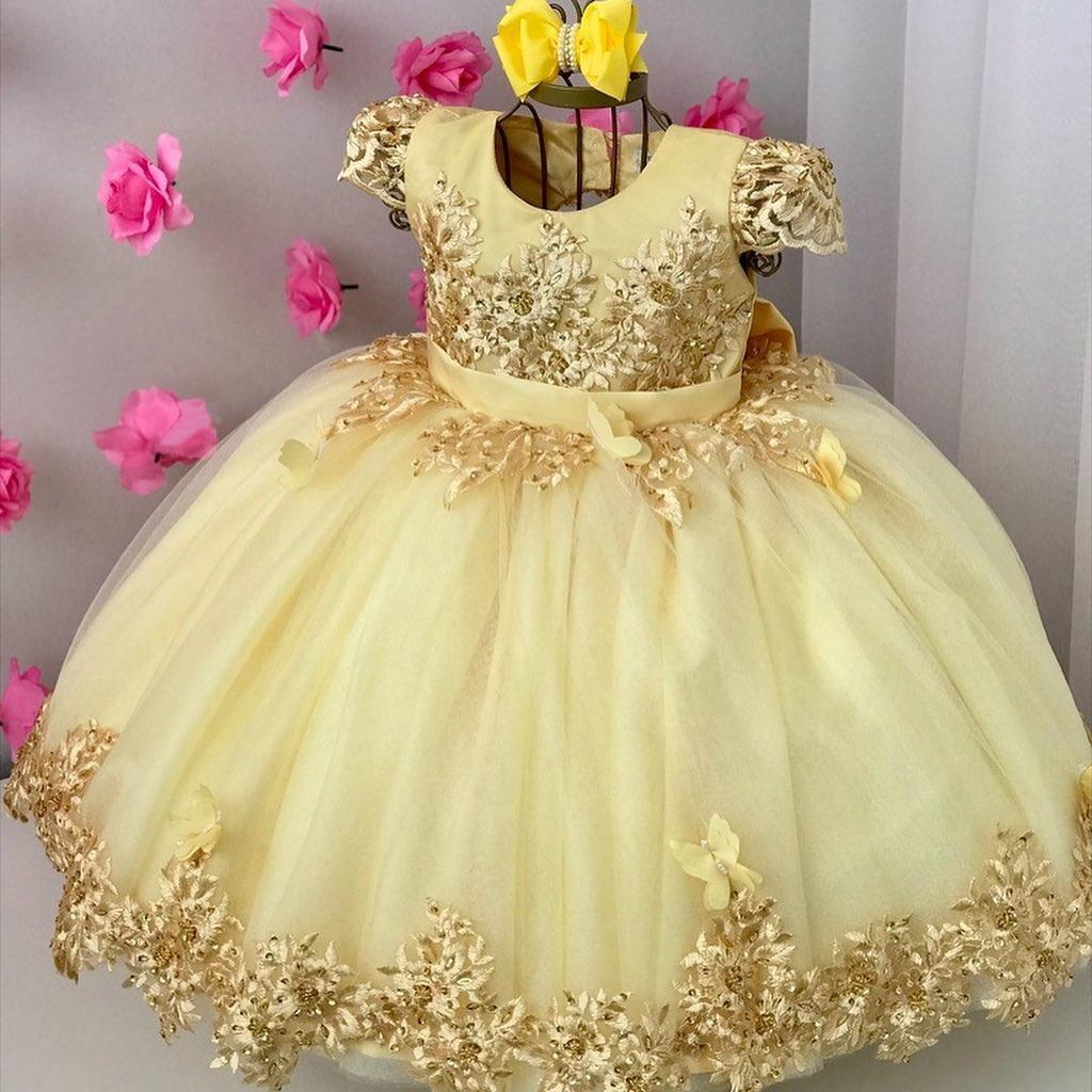 Palla in pizzo giallo dell'abito Backless Abiti da sposa per la lunghezza da sposa in rilievo Bambino spettacolo abiti con l'arco della caviglia di Tulle Prom Dress Bambini