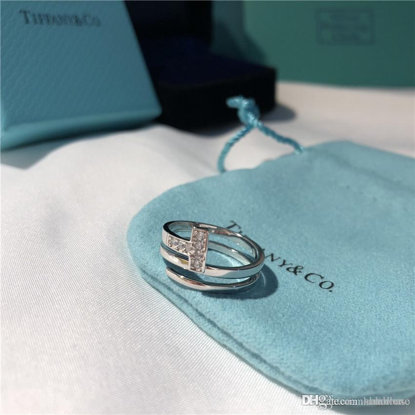 diamant marque T bagues bague réglable DOUBLE T cadeau d'amour célèbre designer de bijoux en argent 925 mariage rose fiançailles en or boîte anneau