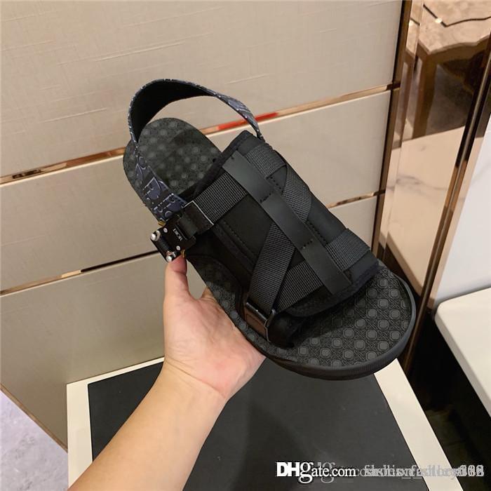 2020 yılında son Yüksek baskısı erkek terlik, özel kumaş orijinal kutusu ile karışık renk platformu sandalet çapraz dikiş ithal