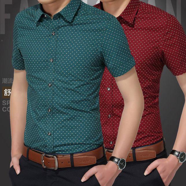 Mens Designer Tshirt Short Sleeve Casual Fashion Dot Pattern Shirt Luxury Summer Spring Slim Fit Shirts Men Fashion Tops
