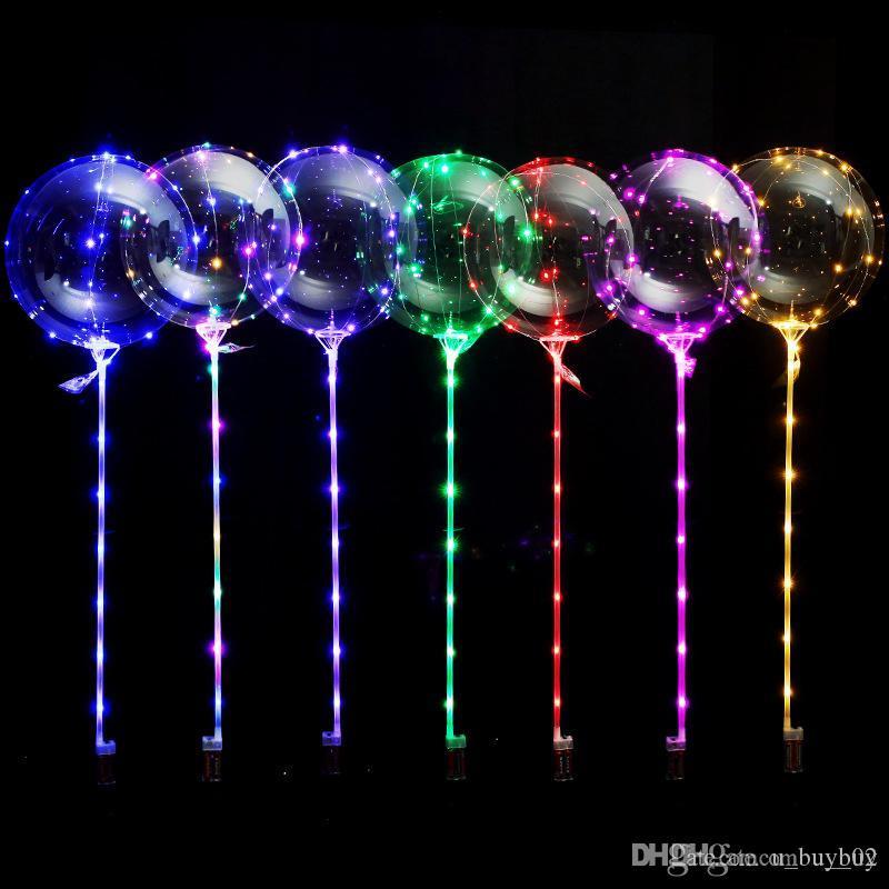 Led Light BOBO Balloon with Stick Transparent Balloons Luminous Led Round Bubble Balloon Flashing Wedding Party Decoration