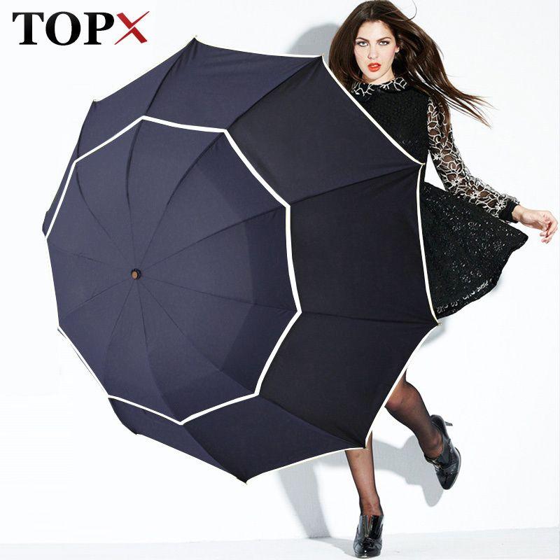 Duplo Golf Umbrella Chuva Mulheres À Prova de Vento 3floding Grande Masculino Mulheres Guarda-chuva Não-automático de Negócios Guarda-chuva Para Os Homens Paraguas T8190619