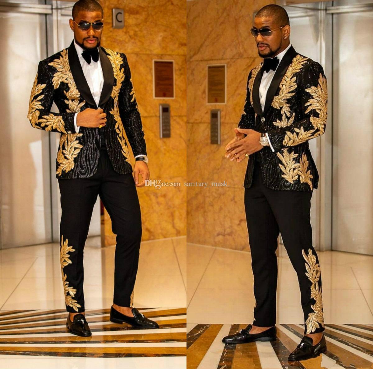 Neueste Schwarz mit goldener Stickerei Männer Anzüge mit zwei Teilen Schal Revers Blazer Slim Fit Hochzeit Smoking Mode Herrenjacke und Hosen