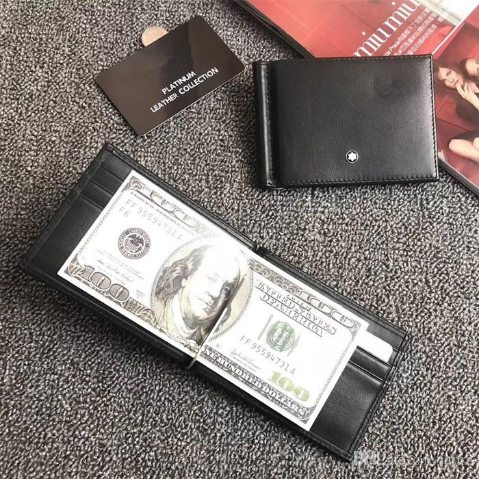 Money Clip Classic Black/Brown Mens Wallet For Card Holder Design Real Leather Credit Card Purse luxury billfold With Dust Bag Box