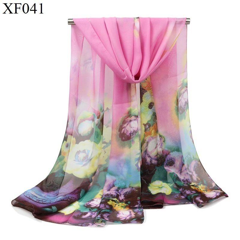 Xia chiffon Sciarpa donna fiori e piante sottile stampa Scialle Sandy Beach un pezzo di stoffa dello scialle in seta