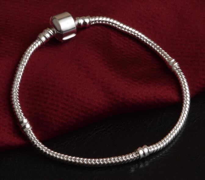 Usine de gros 925 bracelets en argent sterling de 3 mm chaîne serpent Fit Pandora Charm Perle Bracelet Bijoux cadeau pour les hommes Womenfaad #