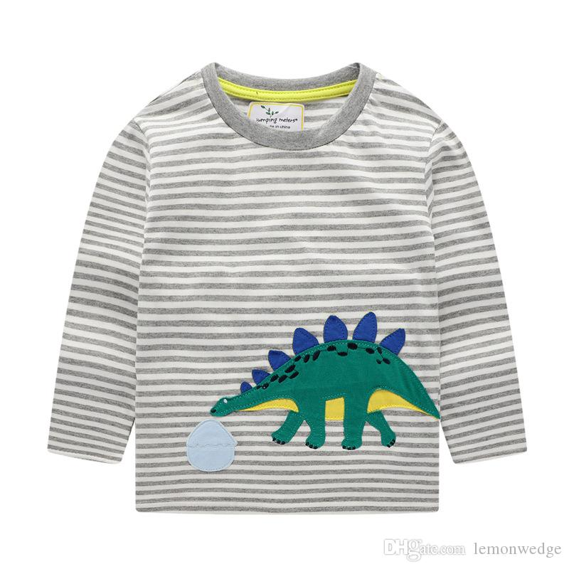 boys long sleeve clothes t-shirts kids cotton Tops t-shirts boys dinosaur stripe clothes t-shirts Tee