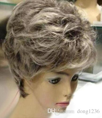 Sıcak Satmak Yeni Moda Kısa Gri Mix Beyaz Kıvırcık kadın lady Saç Peruk Peruk + Kap
