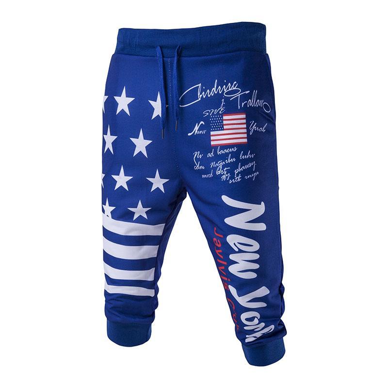 Новые мужские американский флаг печати способа вскользь шорты