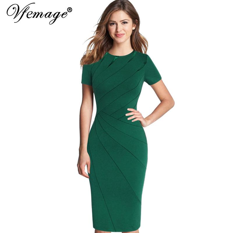 Vfemage Womens Spring Summer Elegant Patchwork Slim Casual Work Business Office Party Fitted Bodycon Pencil Sheath Dress 4682 Y190425