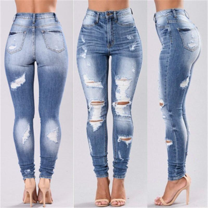 Women High Waist Designer Jeans Fashion Washed Jeans Skinny Bellbottoms Girls Slim Denim Womens Trousers Free Shipping