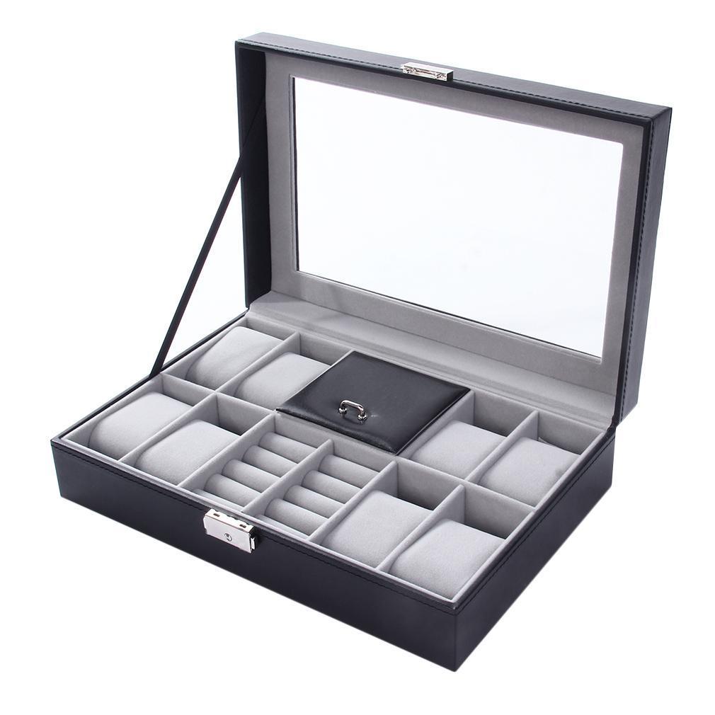 8 + 3 mixta de cuero del caso Rejillas Wacth caja de almacenaje Organizador Caja de lujo de la joyería del anillo de la exhibición del reloj Cajas Calidad Negro 2 en 1