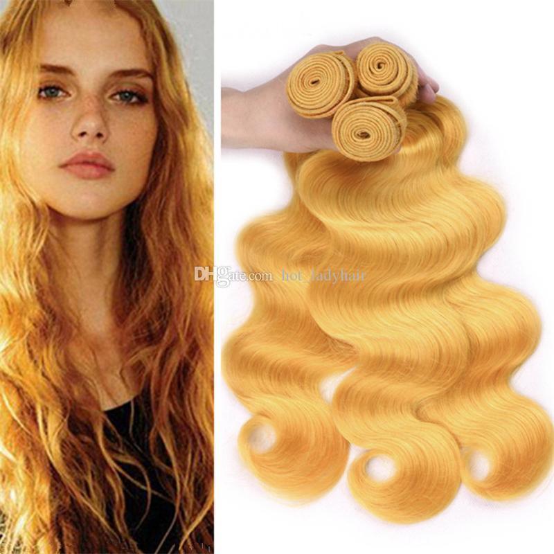 8A malasio de la Virgen amarillo humana armadura del pelo de lotes Lote ofertas de 3 piezas Cuerpo onda ondulado pelo amarillo claro tramas dobles extensiones