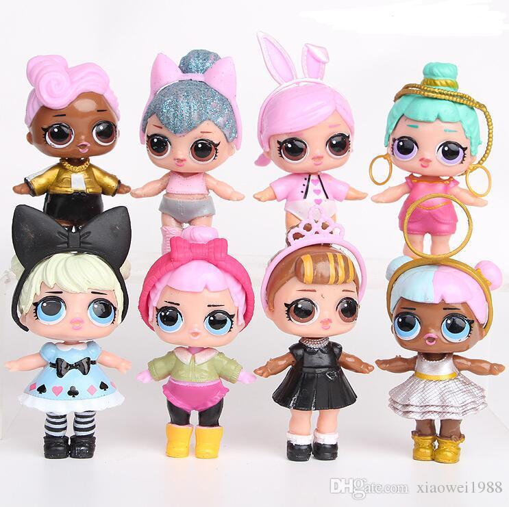 9CM LoL Dolls with feeding bottle American PVC Kawaii Children Toys Anime Action Figures Realistic Reborn Dolls for girls 8Pcs/lot kids toys