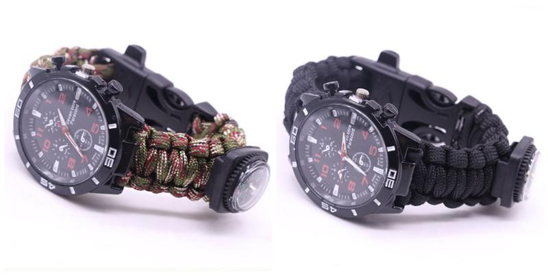 EDC Multi Tools Tactical Camouflage Outdoor survival watch bracelet compass Rescue Rope paracord Camping equipment (25)